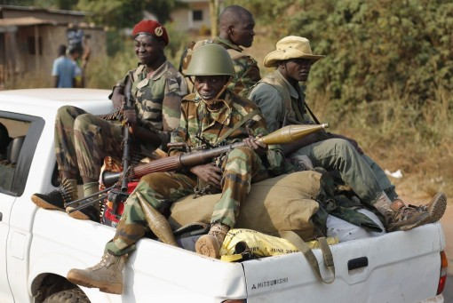Seléka rebels in Bangui. (AP Photo/Jerome Delay)